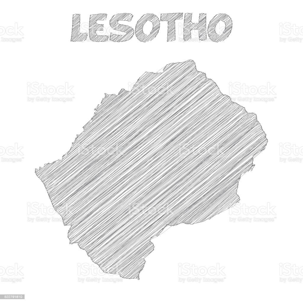 Lesotho map hand drawn on white background vector art illustration