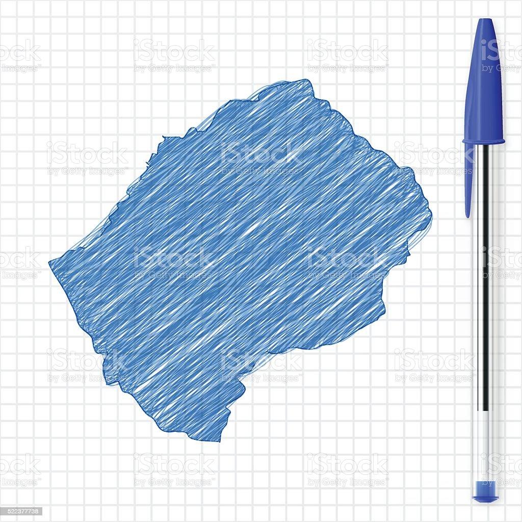 Lesotho map sketch on grid paper, blue pen vector art illustration