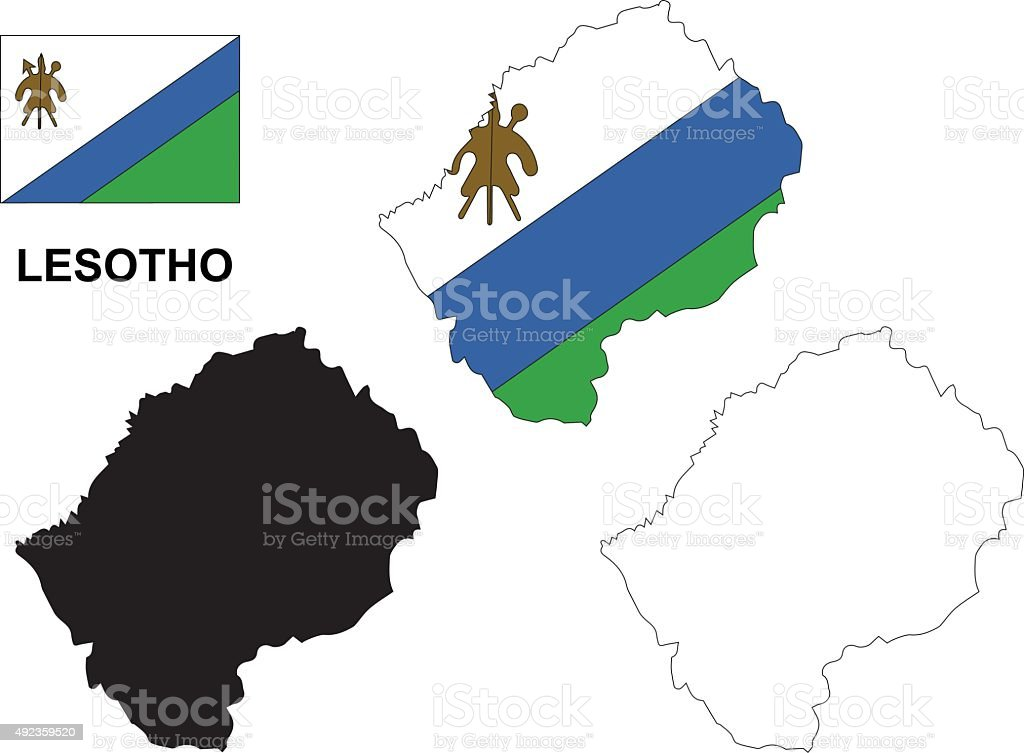 Lesotho map vector, Lesotho flag vector, isolated Lesotho vector art illustration