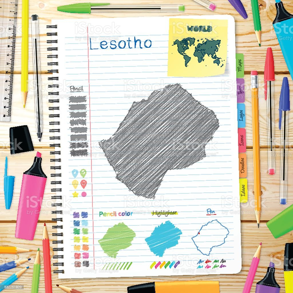 Lesotho maps hand drawn on notebook. Wooden Background vector art illustration