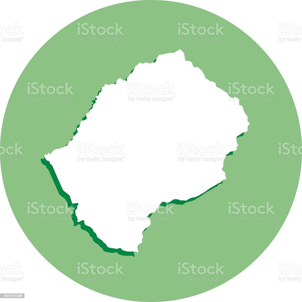 Lesotho Round Map Icon vector art illustration