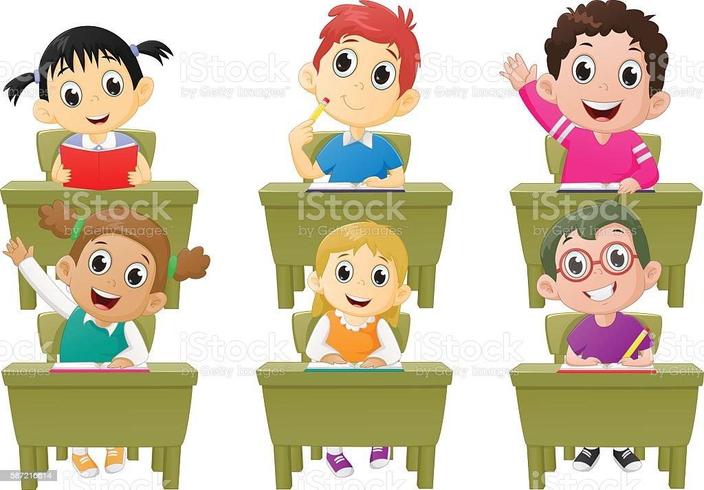 lesson activities school children in classroom vector art illustration