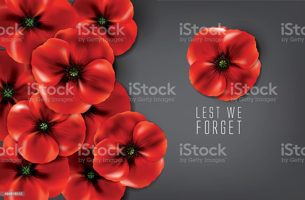 lest we forget - remembrance day vector art illustration