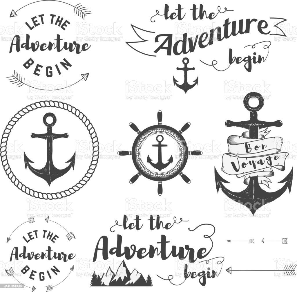 let adventure begin vector art illustration