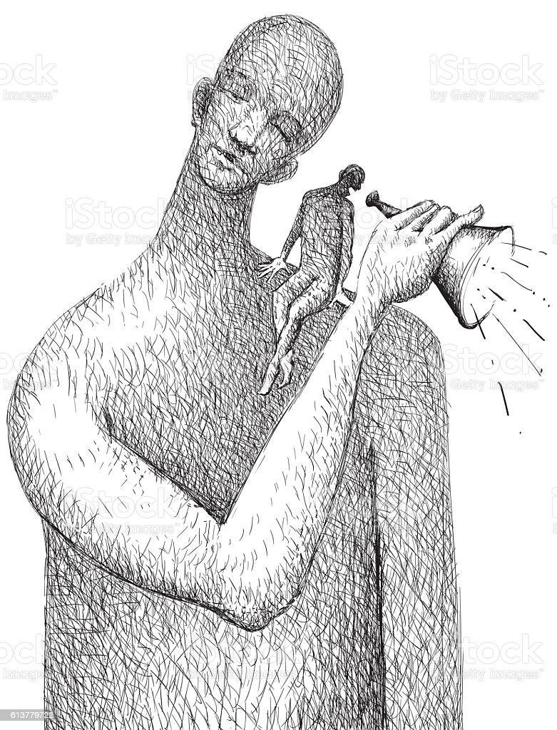 Let him be heard vector art illustration
