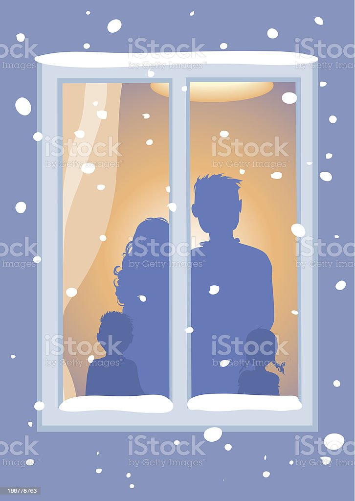 Let It Snow! Family and window. royalty-free stock vector art