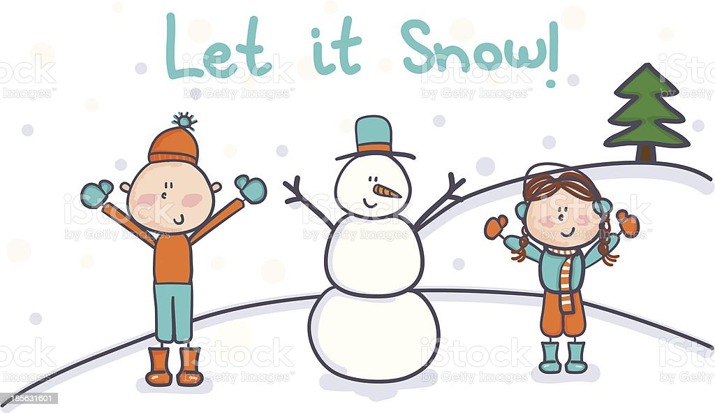 Let it Snow Holiday Card royalty-free stock vector art