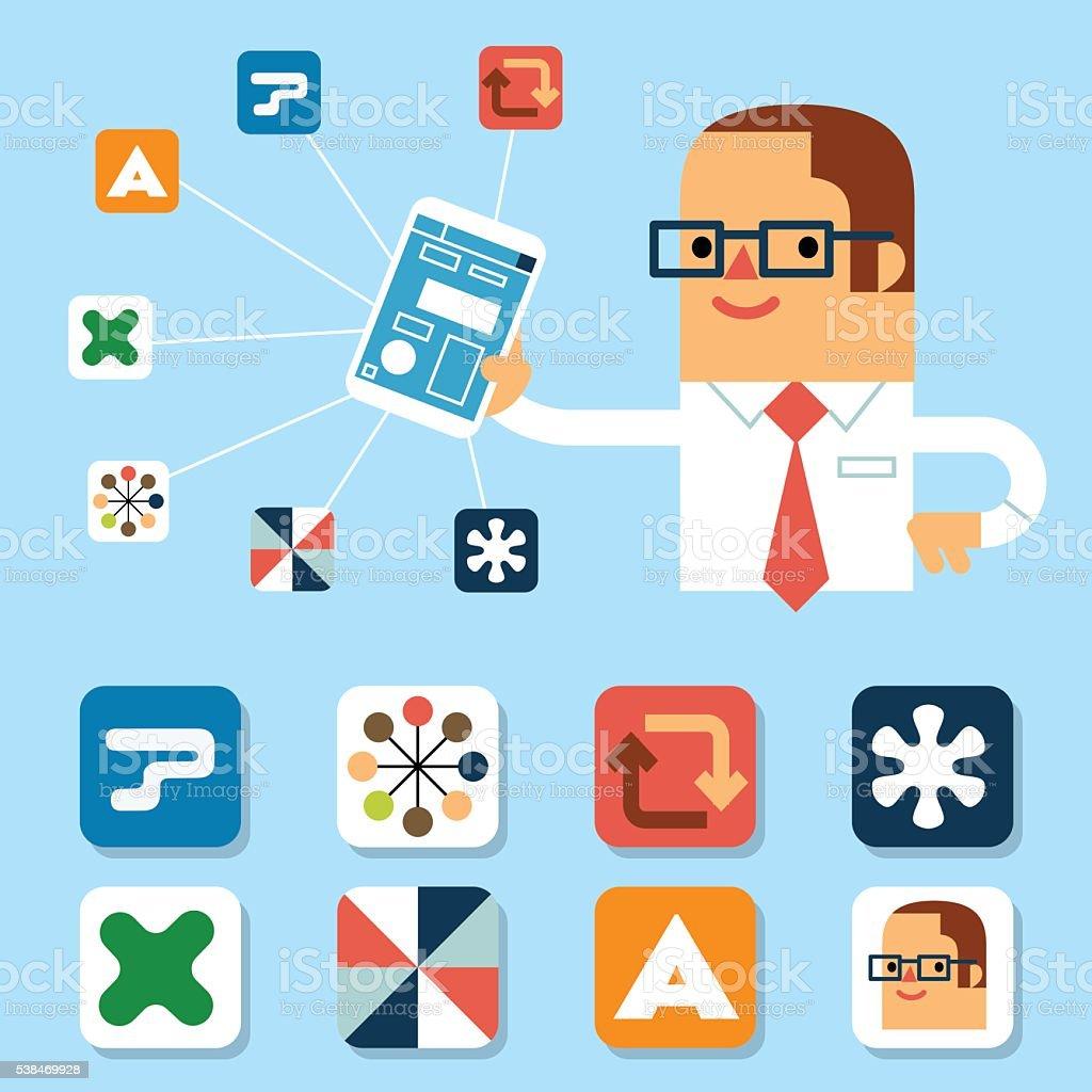 Let's get social, man! vector art illustration