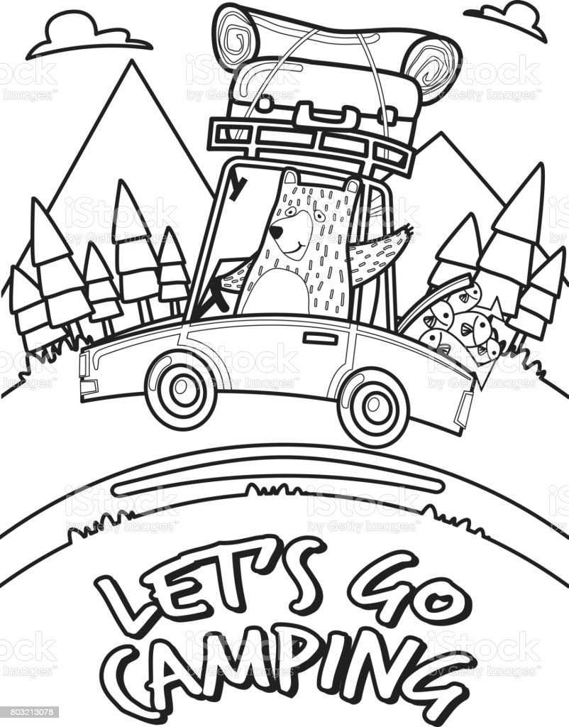 lets go camping and traveling by car coloring pages stock vector