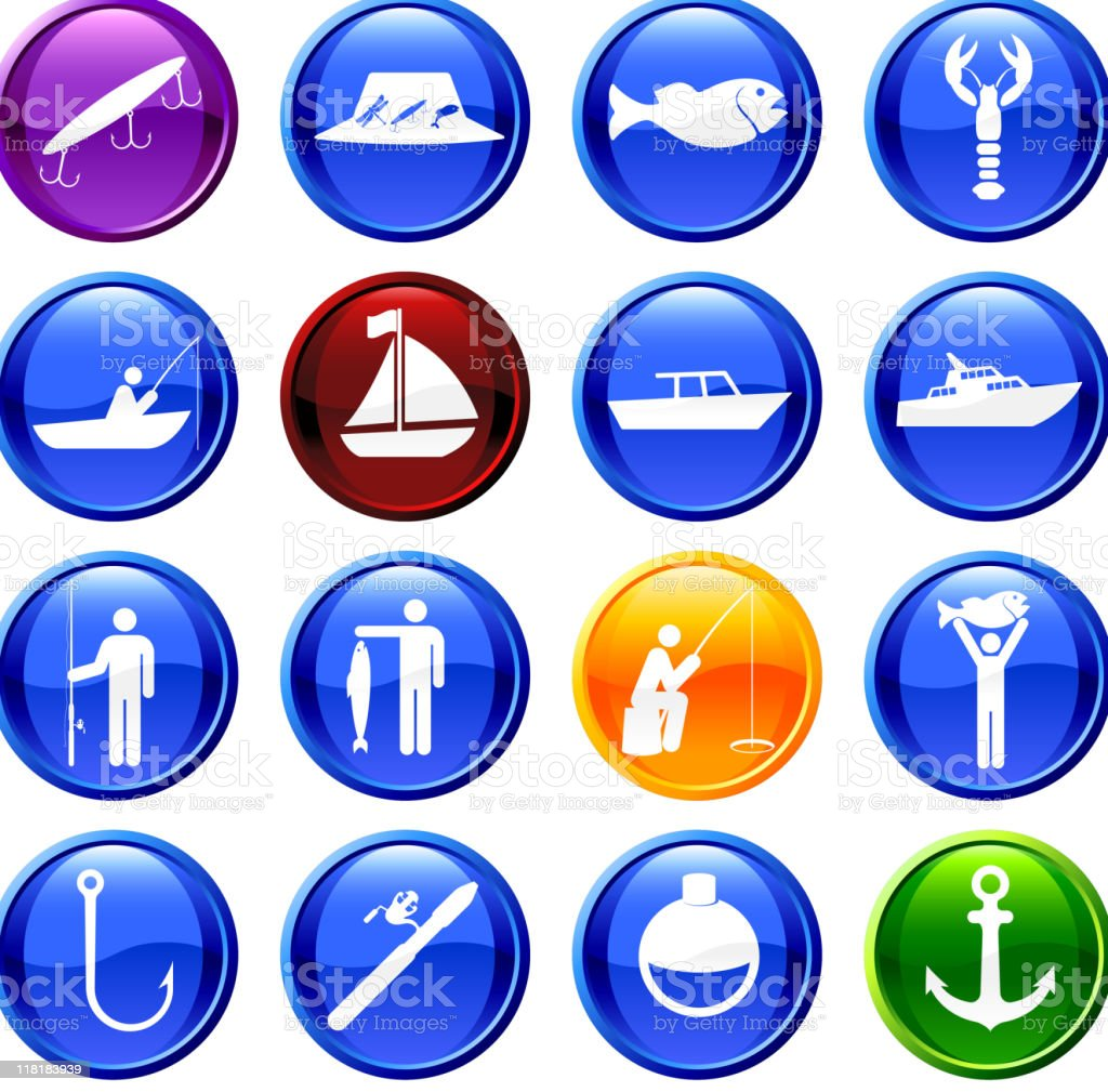 Let's go fishing sixteen royalty free vector icon set vector art illustration