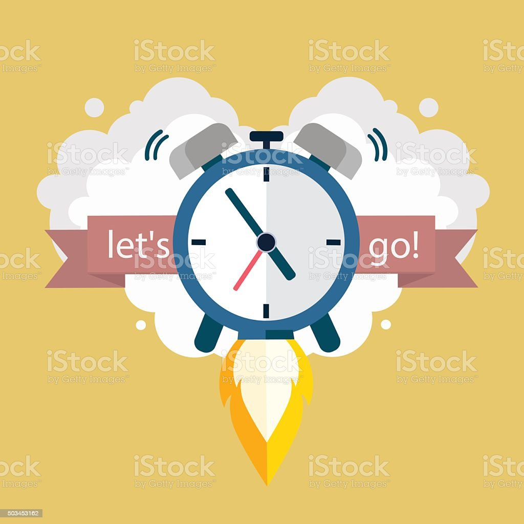 Lets go. Time to work. Clock soaring up. Vector Design vector art illustration