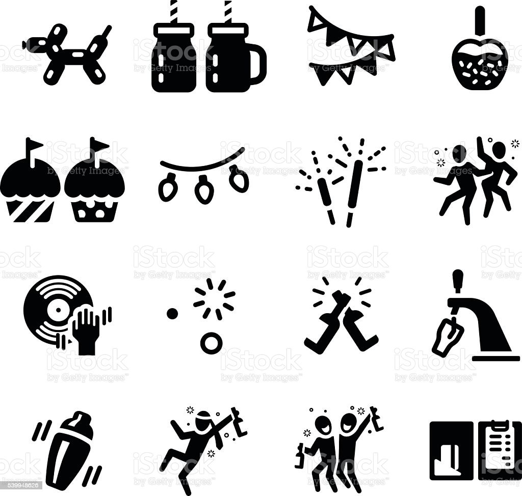 Let's Party Celebrate Hangout Vector Icon Set vector art illustration