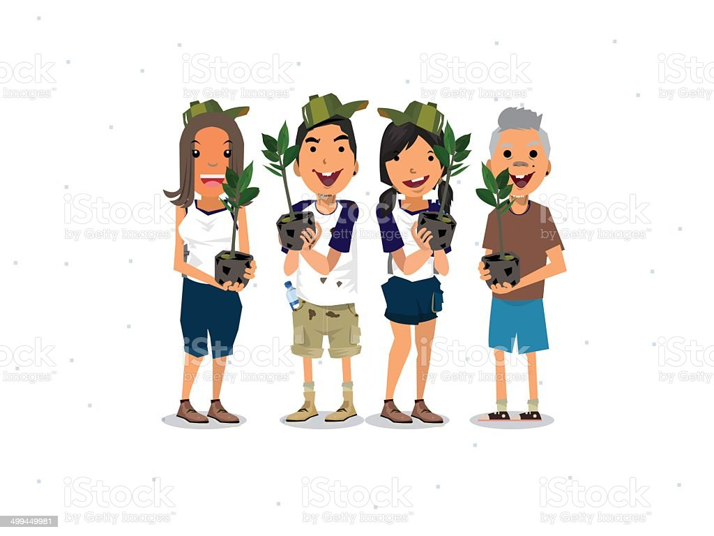 Lets plant a tree vector art illustration