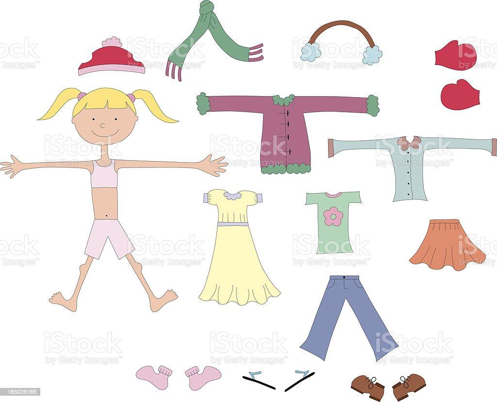 Let's play dressup vector art illustration