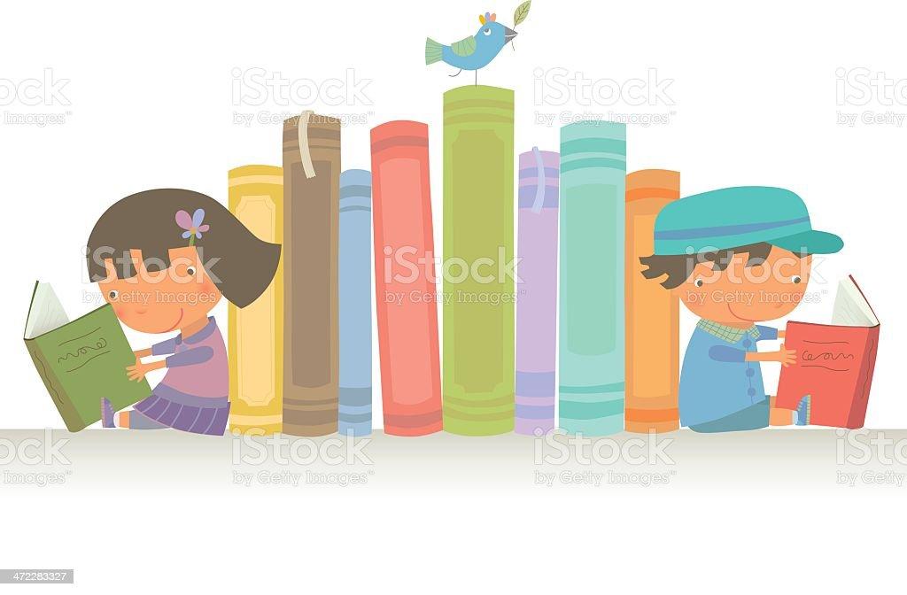 Let's read together vector art illustration