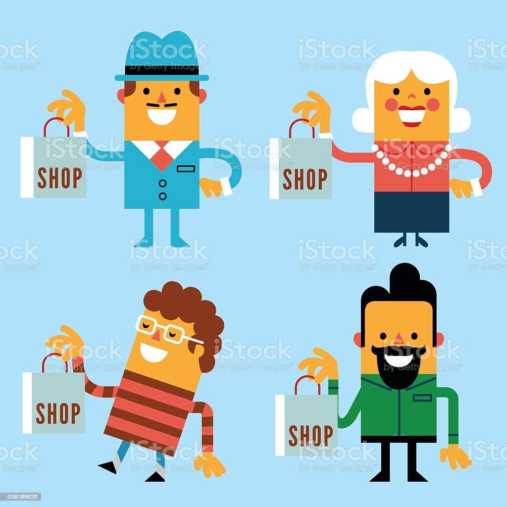Let's shop! vector art illustration