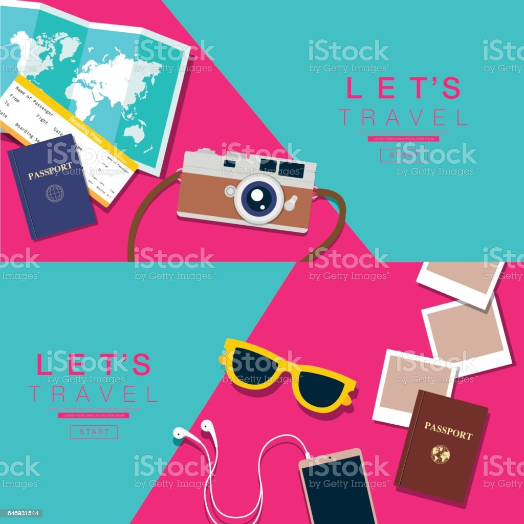 Let's Travel, layout, flat design, vector illustration. vector art illustration