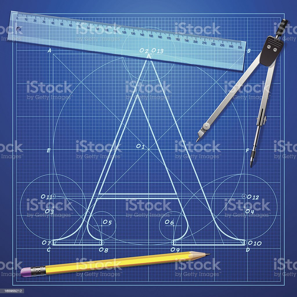 Letter A  Blueprint royalty-free stock vector art