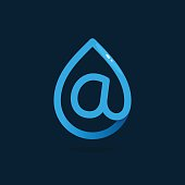 Letter A icon in blue water drop.