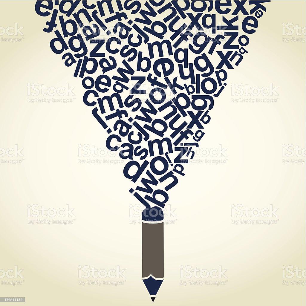 Letter a pencil vector art illustration