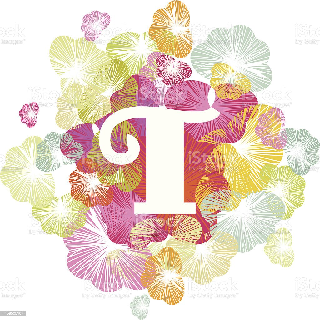 T letter alphabet initial uppercase floral royalty-free stock vector art