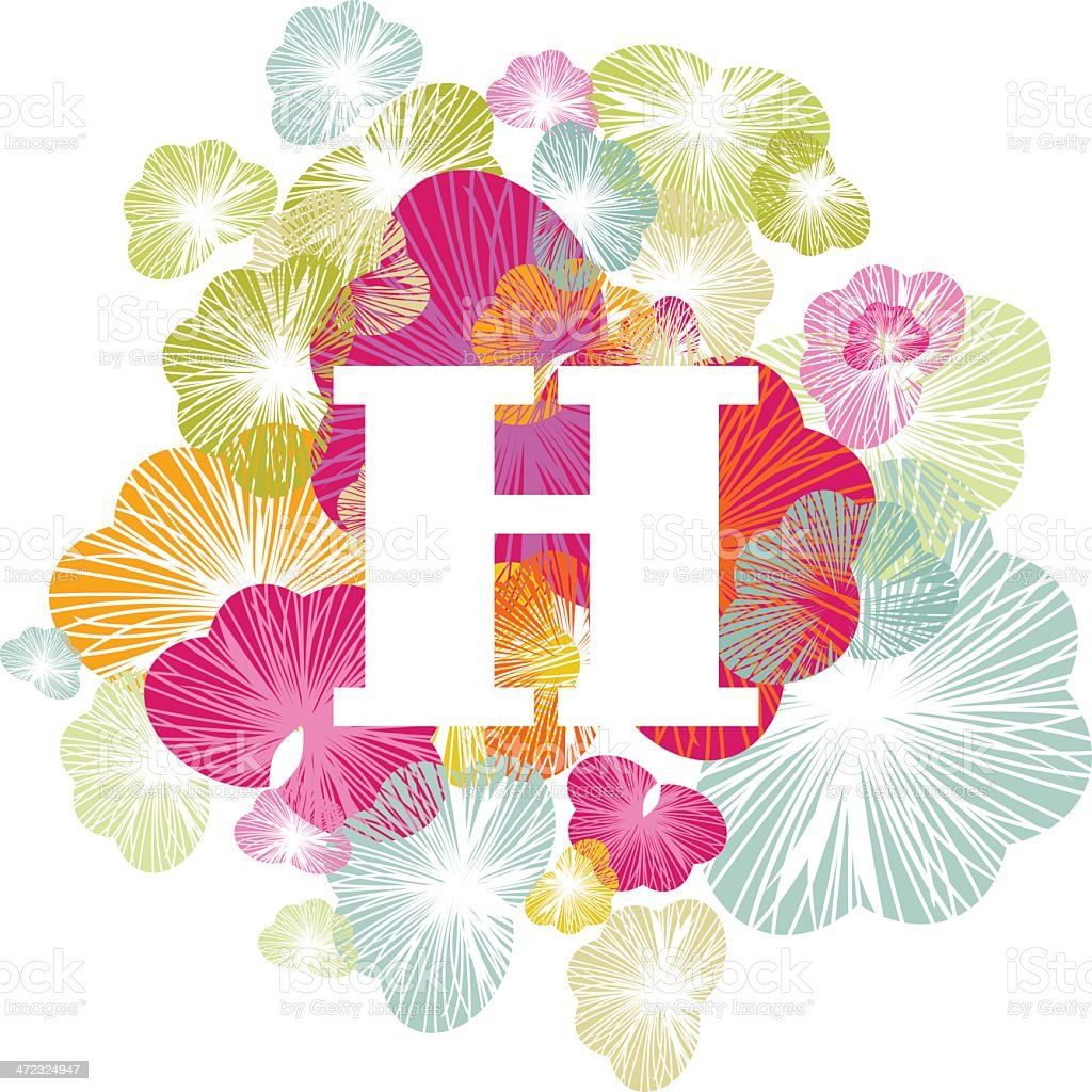 H letter alphabet initial uppercase floral royalty-free stock vector art