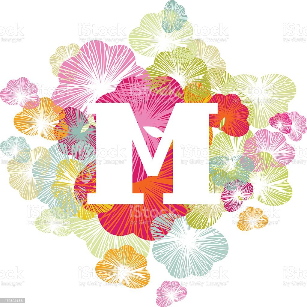 M letter alphabet initial uppercase floral royalty-free stock vector art