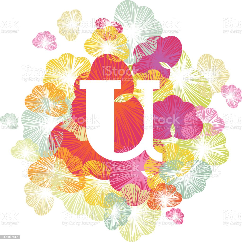 U letter alphabet initial uppercase floral royalty-free stock vector art