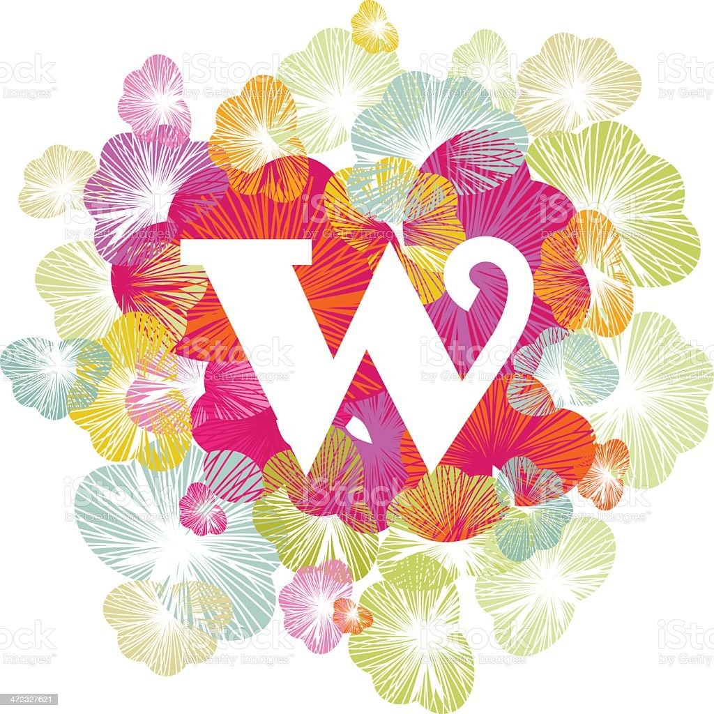 W letter alphabet initial uppercase floral royalty-free stock vector art
