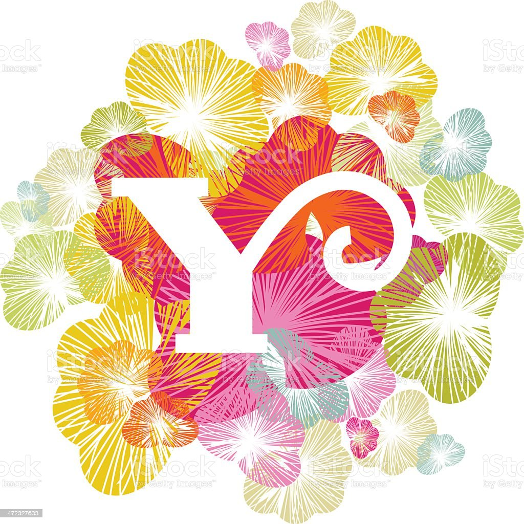 Y letter alphabet initial uppercase floral royalty-free stock vector art