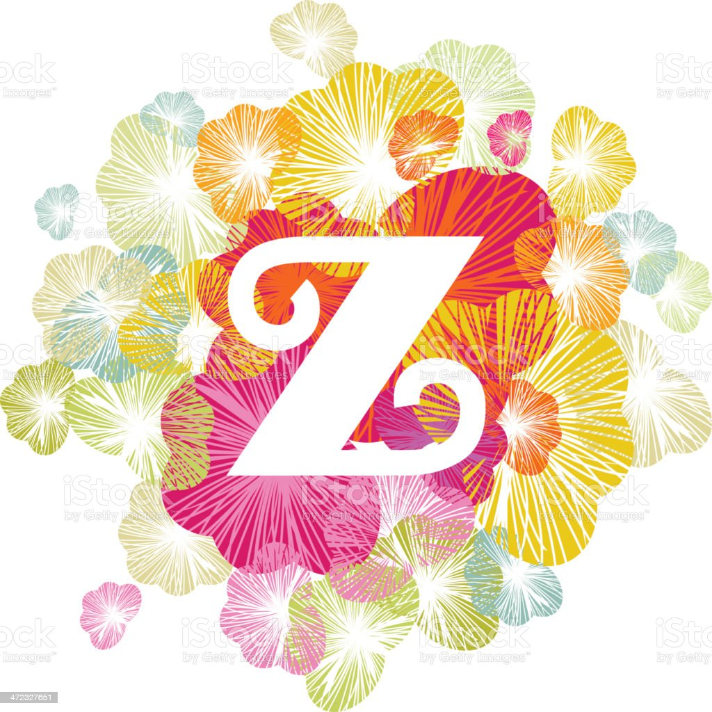 Z letter alphabet initial uppercase floral royalty-free stock vector art