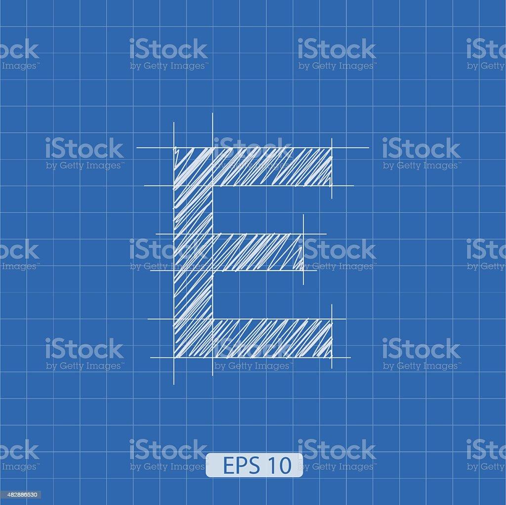 E letter architectural plan vector art illustration
