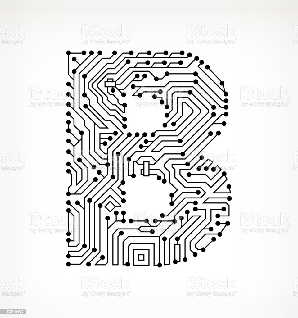 Letter B Circuit Board on White Background vector art illustration