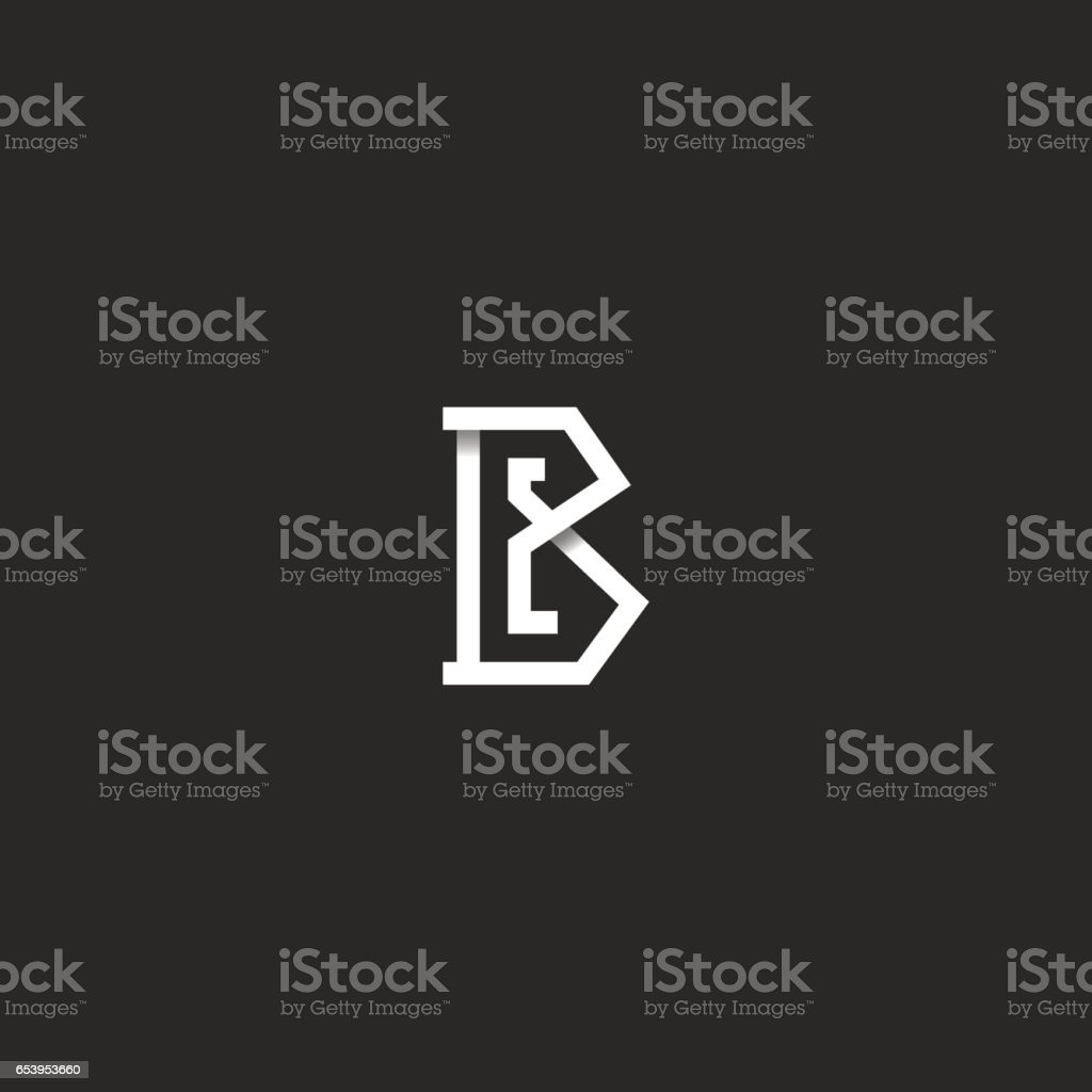 Letter B logo initial monogram idea, black and white angular overlapping line, simple emblem mockup design element for business card vector art illustration