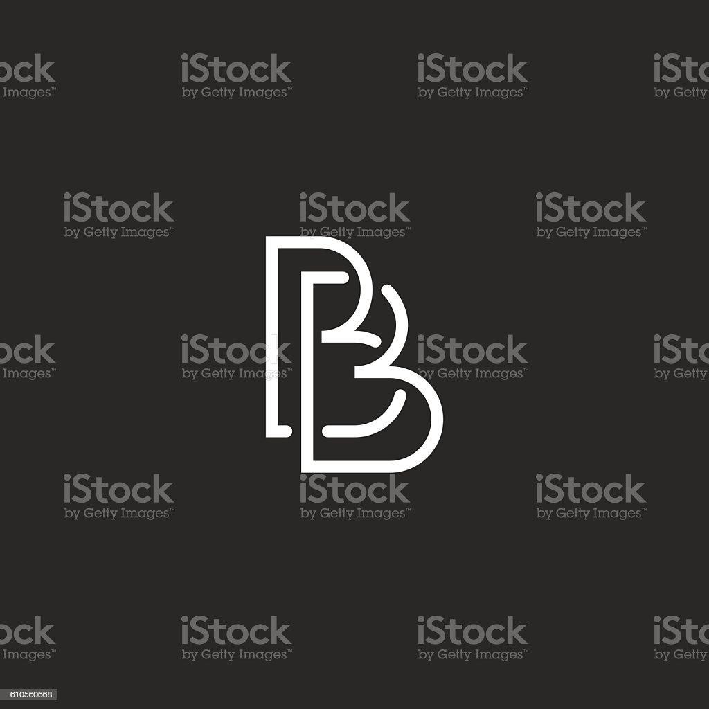 Letter B monogram logo, intersection thin line design overlap outline vector art illustration