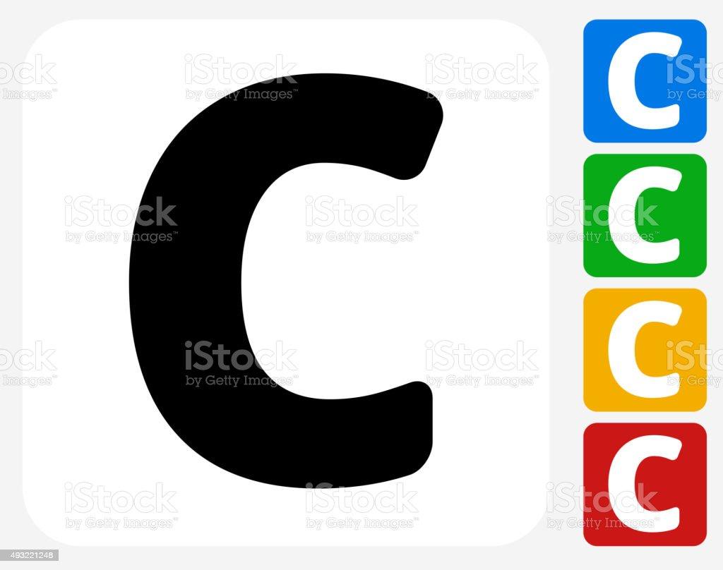 Letter C Icon Flat Graphic Design vector art illustration