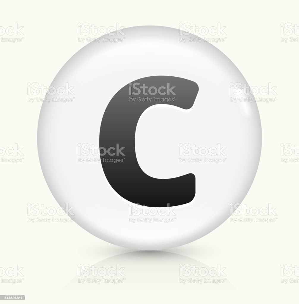 Letter C icon on white round vector button vector art illustration