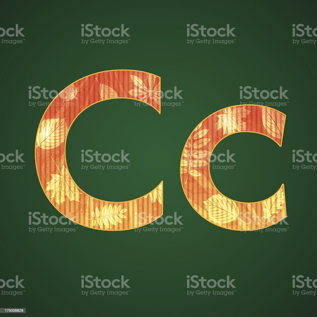 Letter C in the autumn style royalty-free stock vector art