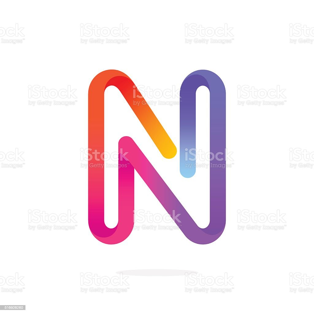 N letter colorful icon. vector art illustration