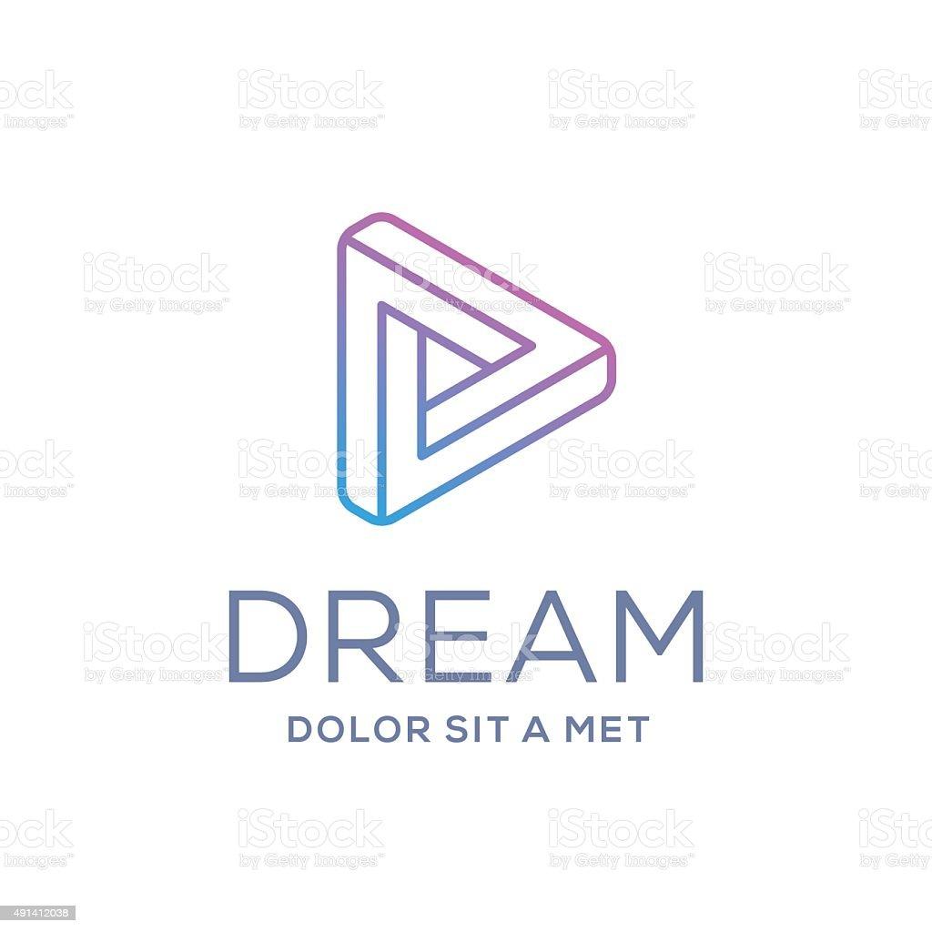 Letter D arrow icon design template elements vector art illustration