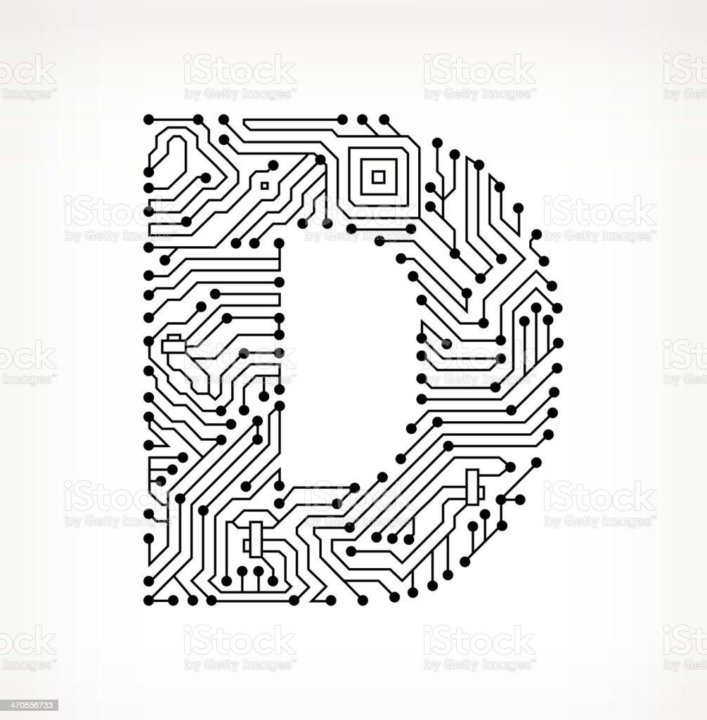 Letter D Circuit Board on White Background vector art illustration