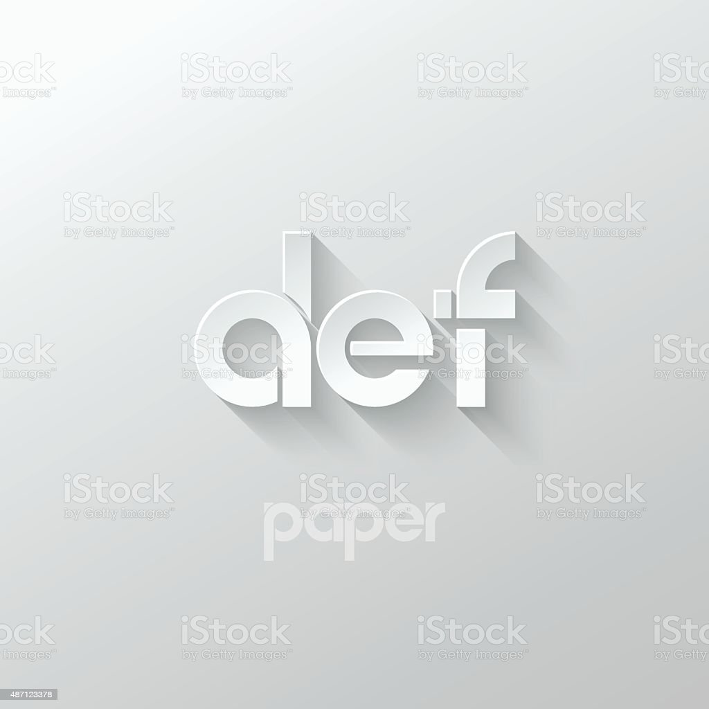 letter D E F logo alphabet icon paper set background vector art illustration
