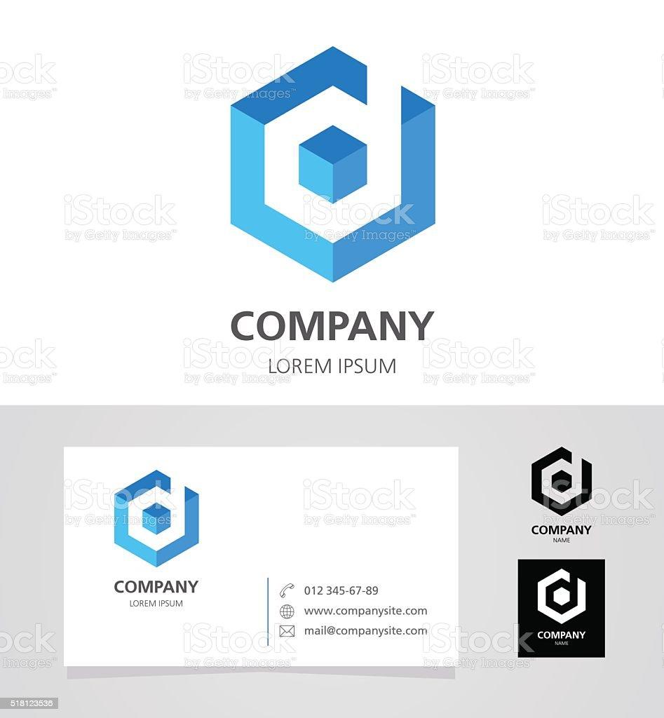 Letter D - Emblem Design Element with Business Card - illustration vector art illustration