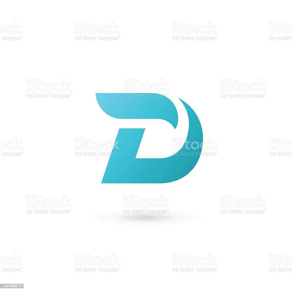 Letter D icon vector art illustration