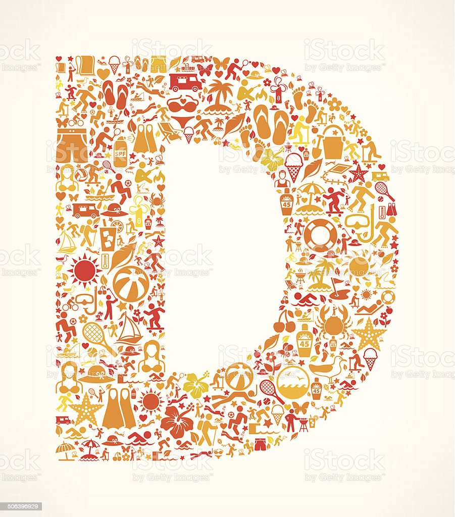 Letter D Summer and Vacation royalty free vector art Pattern royalty-free stock vector art