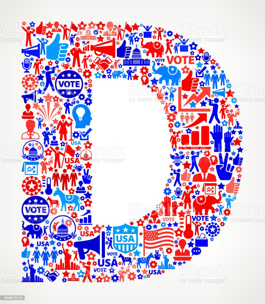 Letter d Vote and Elections USA Patriotic Icon Pattern vector art illustration
