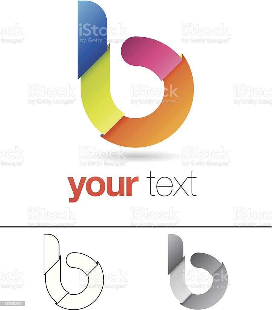 B Letter Design Element vector art illustration