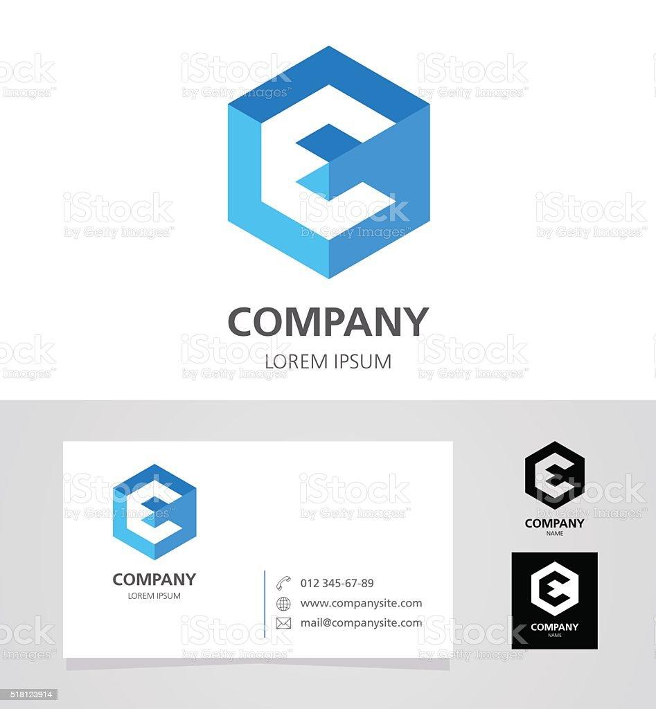 Letter E - Emblem Design Element with Business Card - illustration vector art illustration