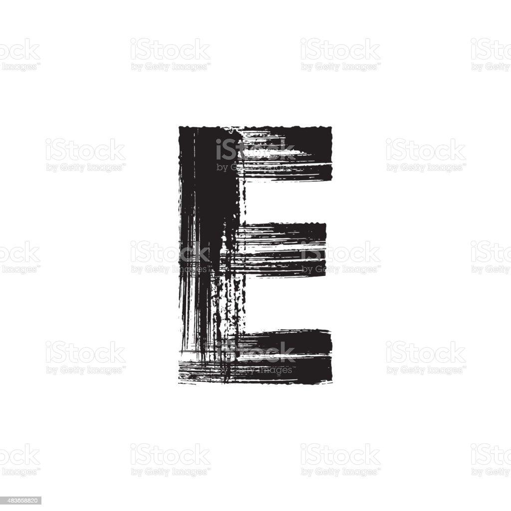 Letter E hand drawn with dry brush vector art illustration