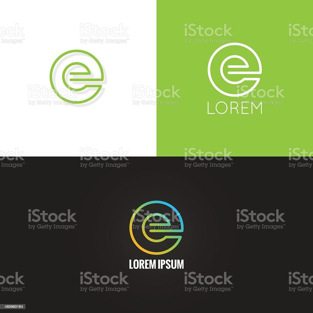 letter E logo alphabet design icon set background vector art illustration
